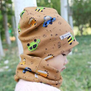 Toddler Baby Autumn Cotton Beanie Hat Collar Scarf Set Kids Boy Soft Outdoor Cap