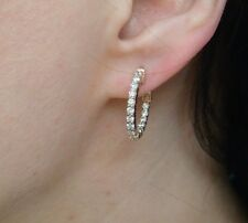 1 CARAT T.W. DIAMONDS IN AND OUT SMALL HOOP EARRINGS 14K ROSE GOLD, 4.8 GRAMS