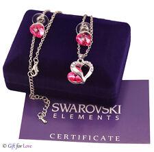 Collana Parure donna argento Swarovski Elements originale G4Love cristalli cuore