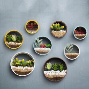 Iron Wall Hanging Basket Vase Flower Pot Round Planter Bonsai Home Art Decor DIY