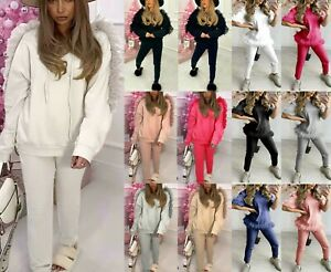 Ladies Women's Mesh Frill Sleeve Oversized Hooded Tracksuit Loungewear Suit Set