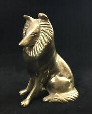 """Vintage Brass Border Collie Dog Statue Figurine Sculpture Lassie 4"""" High 10 oz"""