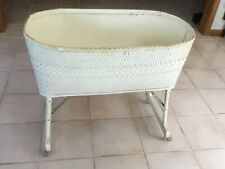 Vintage Baby Bassinet White Wicker Wood Bed With Bedskirt