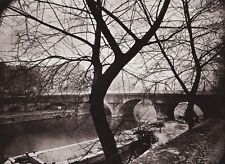 1890/1963 Vintage 11x14 SEINE RIVER BRIDGE Landscape France Art By EUGENE ATGET