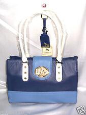 Emma Fox Classic Leather Satchel Purse Turn Lock Blue/Multi w Bonus Key Fob NWT