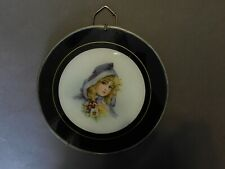 Antique Victorian Flue Cover Chromos Lithograph Tin Glass Girl Purple Hood (E)