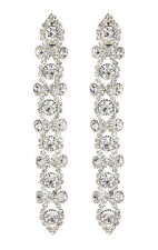 CLIP ON EARRINGS - silver drop earring with clear crystals - Cassidy S