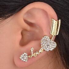 Nouveau 1PC Amour Cœur Arrow Ear Wrap Cuff Boucle d'oreille Clip Plaqué or