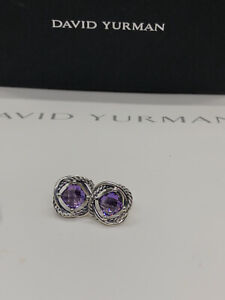 David Yurman Silver Stud Infinity Earrings with Amethyst 7x7
