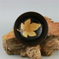 Chinese old antique Porcelain Song jizhou kiln black glaze Maple leaves cup bowl