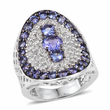 Sterling Silver Round Tanzanite, White Topaz Cluster Ring Size 9 Cttw 3.6 -ST