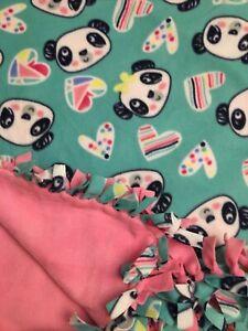 Handmade FLEECE TIE-BLANKET Reversible Panda Love Heart Animal  58X72 -2 layer