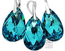 NEW! SWAROVSKI CRYSTALS TURQUOISE EARRINGS+PENDANT STERLING SILVER HANDMADE