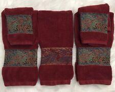 Ralph Lauren Five Piece Set Of Cranberry Paisley Bathroom Towels Euc