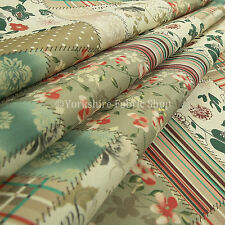 10 Metres of Striped Floral Patchwork Pattern Red Green Beige Upholstery Fabric