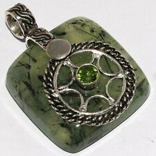"Silver Plated Pendant 1.6"" Mm-34945 Moss Prehnite 925"