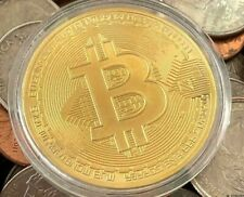 10x BTC Bit coin 24k Gold Plated commemorative Novelty coin with case