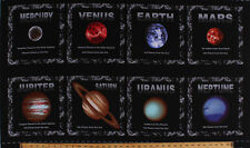 "23.75"" X 44"" Panel Planets Solar System Cosmic Space Cotton Fabric Panel D758.23"