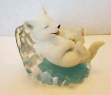 Hamilton Collection- Arctic Antics Snow Wolf Figurine Cool Slide Sculpture Puppy