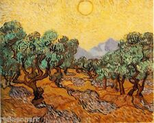 Olive Trees with Yellow Sky and Sun by Van Gogh Giclee Print Repro on Canvas