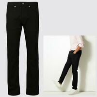 Mens M&S Collection Straight Fit Stretch Jeans Black CURRENT LINE