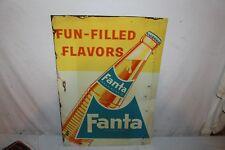 """Vintage c.1960 Fanta Orange Soda Pop Bottle Gas Station 28"""" Metal Sign"""
