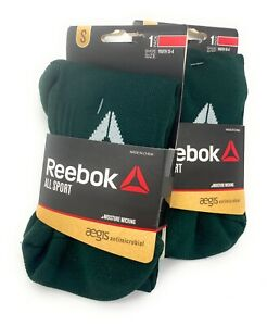 Reebok Youth S 13-4  All Sport Moisture Wicking Socks Dark Green