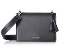 Kate Spade Hayes Street Medium Flap Shoulder Bag Pebbled Leather $329 Black