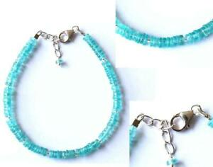 """7 - 8"""" BRACELET NATURAL APATITE BEADS TYRE SOLID 925 STERLING SILVER #D554"""