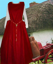 Sca Garb Medieval Gown Renaissance Costume BloodRed LinenBld Sidelss Surcote Lxl