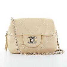 316a895ef672 Chanel Cc небольшие Шампанское золото стеганая кожа лоскут двойная сумка  сумка через плечо