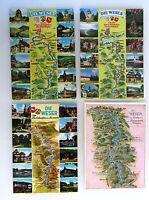 Topographie AK Lot mit Flüssen 4 x Fluss WESER Region Flussverlauf Postkarten