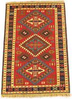 feiner Sumak Kelim Azerbaijan 150 x 102 cm persischer Nomaden-Teppich Korkwolle