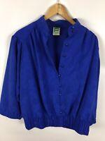 FRANKENWÄLDER Damen Bluse, Shirt, Größe 46, blau, rosendruck, sehr schick