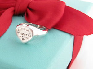 Tiffany & Co Silver Heart Return To Tiffany Signet Ring Band Size 5