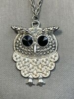 Vintage Bohemian Crystal Owl  Charm Spirit Animal Boho  Pendant Necklace 26""