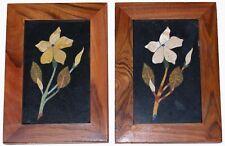 Stone Painting Pair Modernist Pietra Dura Flower Plaque Decorative