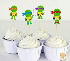 TEENAGE MUTANT NINJA TURTLES CUPCAKE TOPPERS 24PCS  /  KIDS BIRTHDAY PARTY TMNT