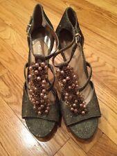Gianni Bini  Stiletto Heels Platform Gold with Beads & Pearls  8M Worn 1 Night!
