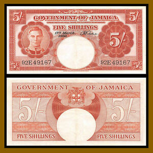 Jamaica 5 Shillings, 1960 P-45 King George VI Banknote Very Fine (VF)