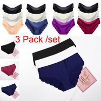 3 Pack Women Seamless Soft Ultra Thin Briefs Panties Hipster Underwear Lingerie*