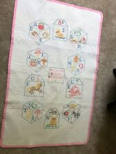 handmade & hand embroidered blocks pink and white 36 X 58 in. crib quilt