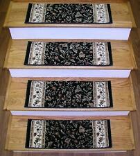 "Black Stair Tread Set of 7 Floral Non Slip Carpet Runner Treads 26""x9"" Rug Depot"
