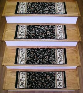 Black Stair Treads 26in x 9in 1593-Non Slip Tabs By Rug Depot