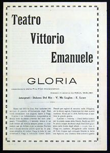 volantino programma film GLORIA Dolores Del Rio Victor McLaglen Edmund Lowe 1926