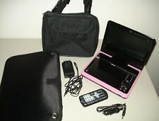"""Pink Portable Lcd 8"""" Dvd Cd Player Remote Control Usb Adapter Bag Travel Car"""
