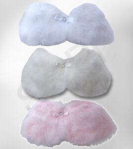 Flower Girl Faux Fur Cape, Girls Fluffy Feather Wedding Bolero Age 1 to 13 Years