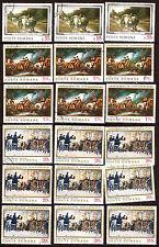 86T1 ROUMANIE 3 tableaux celebres en 3-6-9- exemplaires  18 timbres oblitérés
