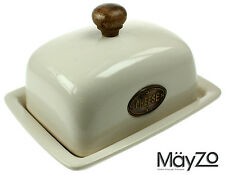Cheese Dish & Lid Vintage Beige Ceramic Pottery Kitchen Table