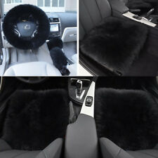 5PCS Black Faux Wool Fur Car Winter Protection Accessories Seat Steering Cover